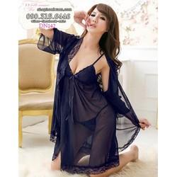 Đầm ngủ kèm áo choàng thun lưới dễ thương hàng xuất khẩu - DN142