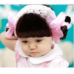 Băng đô tóc giả ren bông hồng kèm tóc mái dành cho bé sơ sinh