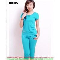 Sét đồ bộ nữ màu xanh kiểu đơn giản cá tính SEB214