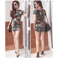 HÀNG LOẠI I - Set áo croptop + váy body xẻ tà hoa li ti