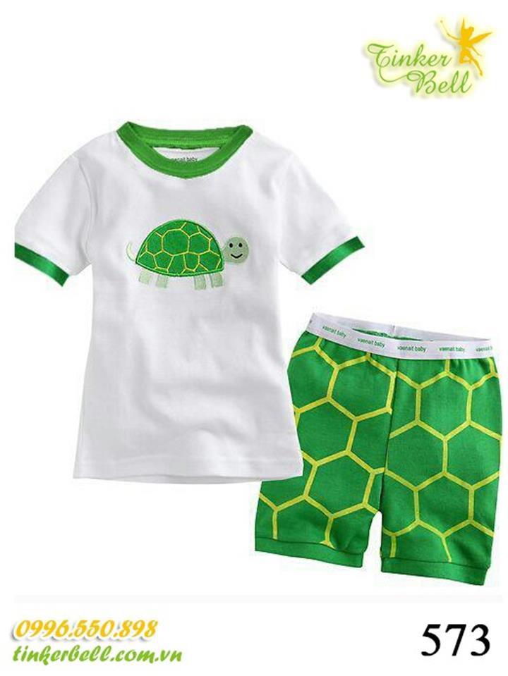 573 - Bộ Gap ngắn - Green Turtle - Tinker Bell Kids 1