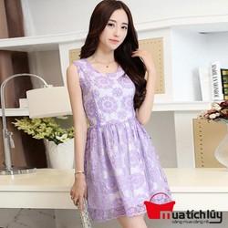 Đầm xòe ren họa tiết nổi Elysa