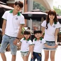 Đồng phục gia đình áo cá sấu trắng phối xanh