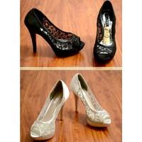Giày cao gót ren kim sa lưới sang trọng hàng nhập cao cấp