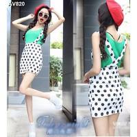 Váy đầm yếm dạo phố chấm bi Mã: AV820