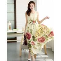 Đầm maxi họa tiết hoa tranh cao cấp hàng nhập