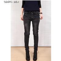 Quần jeans lưng thun 3 nút xéo Mã: QD575 - ĐEN