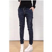 quần jeans lưng thun 3 nút xéo Mã: QD575 - XANH