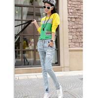 Quần dài lưng thun jeans 1862 Mã: QD545 - XANH NHẠT