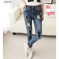 Quần jeans nữ rách vá Mã: QD616