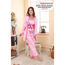 đồ bộ dài mặc nhà kèm áo choàng cotton hàng xuất khẩu - DB299