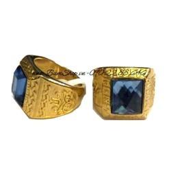 Nhẫn inox nam cẩn đá xanh trạm khắc tinh xảo