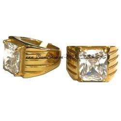 Nhẫn nam inox màu vàng cẩn đá trắng
