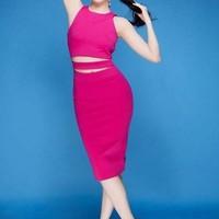 Đầm hồng ôm body cutout đẹp như Ngọc Trinh DV713
