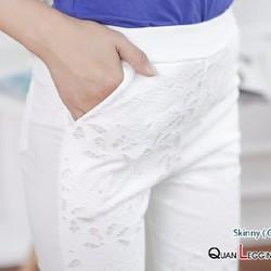 Quần skinny ren hoa văn nổi đẹp – Màu trắng