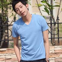 Aó thun nam màu xanh nhạt cổ trái tim vải đẹp giá rẻ nhất