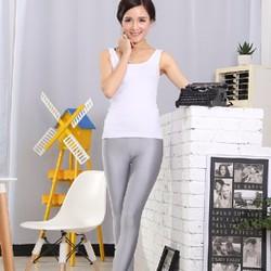 Quần legging thun bóng trơn -màu xám bạc
