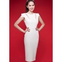 Hàng thiết kế - Đầm ôm body trắng công sở Ngọc Trinh D114
