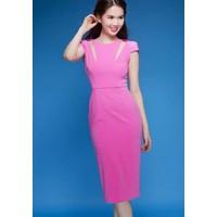 Hàng thiết kế - Đầm ôm body hồng công sở Ngọc Trinh D115