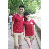Áo phông đôi mùa hè đỏ HT025
