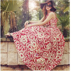 Đầm maxi nữ họa tiết tươi trẻ, kiểu voan nhẹ nhàng,quyến rũ-D2915
