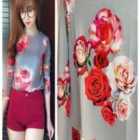 Áo voan tay dài cổ tròn nền xám họa tiết hoa Hồng đỏ AKN303