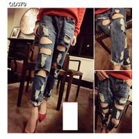 Quần jeans nữ rách nhiều Mã: QD370