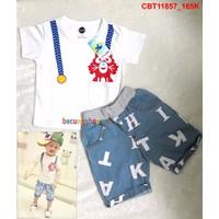 Bộ áo cotton phối quần jean mềm dễ thương cho bé trai từ 1-8 tuổi