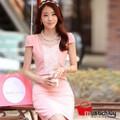 Đầm công sở hồng phối ren