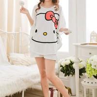 Đồ bộ ngắn mặc nhà kitty thun cotton hàng quảng châu - DB294