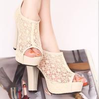 giày cao gót ren nữ cá tính CG04