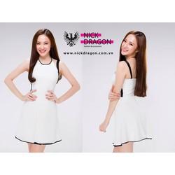 Hàng thiết kế - Đầm xòe trắng viền đen Phương Trinh D126