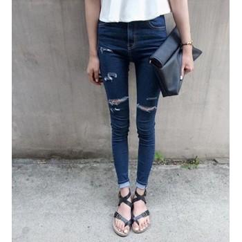 quần jeans dài rách ngang Mã: QD529 - XANH