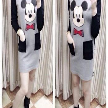 Đầm body thun tay phối màu Chuột Mickey 2 túi DA928