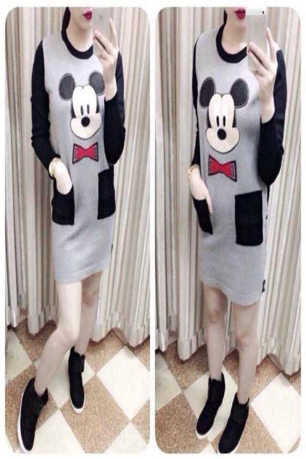 Đầm body thun tay phối màu Chuột Mickey 2 túi DA928 1