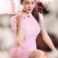 Đầm xòe Linh Chi thiết kế cổ mới lạ màu hồng cực xinh DXV4