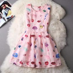 Đầm nữ voan xếp ly họa tiết