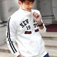 Aó khoác nam màu trắng logo đẹp viền đen from body ôm giá rẻ nhất