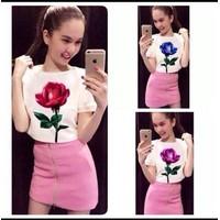 HÀNG LOẠI 1 - Sét áo hoa hồng + chân váy