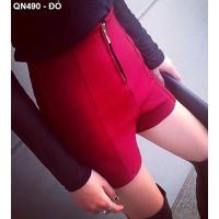 Quần short nữ lưng cao dây kéo Mã: QN490 - ĐỎ
