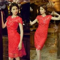 Đầm ren hoa dự tiệc BD51-HÀNG NHẬP CAO CẤP Y HÌNH