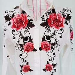 sale off - HÀNG CAO CẤP- Aó so mi voan tay dài in hoa hồng NT725