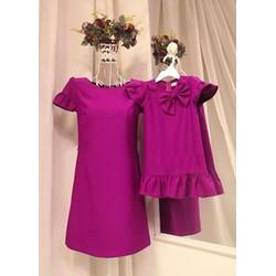 Đầm đôi sắc tím đính nơ ngực cho bé HGS 38
