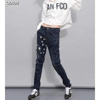 Quần jeans dài ngôi sao nút xéo Mã: QD595