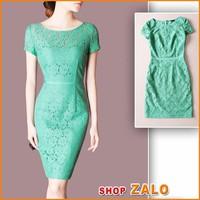 Shop ZALO - HÀNG LOẠI 1 - Đầm REN NỔI XANH- D555