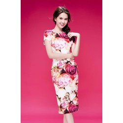 Đầm body họa tiết hoa hồng giống Ngọc Trinh - SMK22