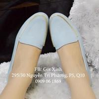 Giày mọi viền dây khóa da mềm màu xanh-GX206