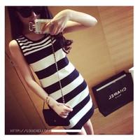 Đầm body thun len dệt kim kẻ sọc nổi bật,phong cách Hàn Quốc-D2831