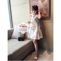 Váy bầu chất lụa Hàn Quốc, họa tiết nhẹ nhàng