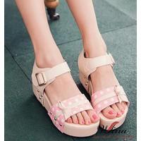 Giày Sandal Chấm Bi Thắt Nơ Xinh Xắn